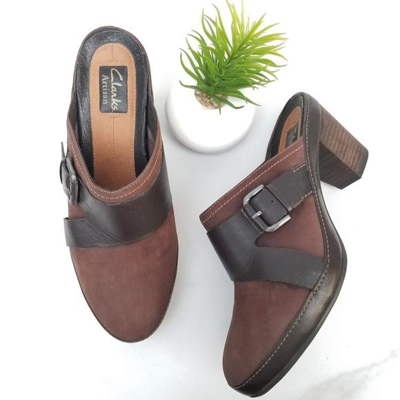 0da7597b500ef Clarks Brown Leather Clogs Mules Buckle Heels